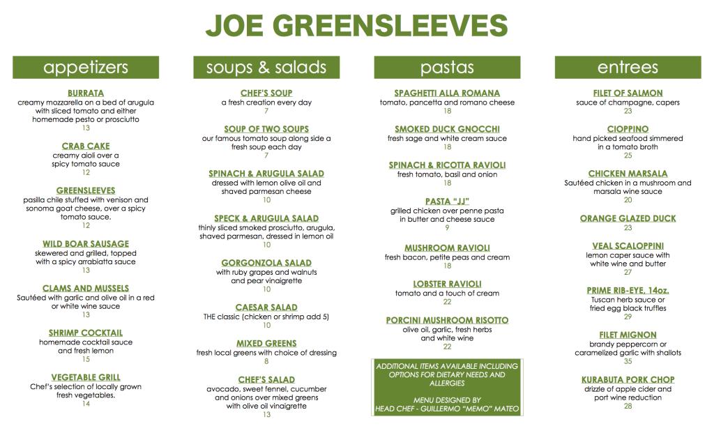 JG Dinner template